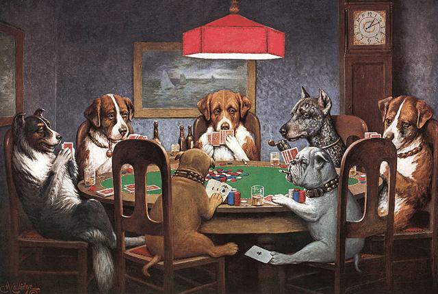 Perros jugando póker